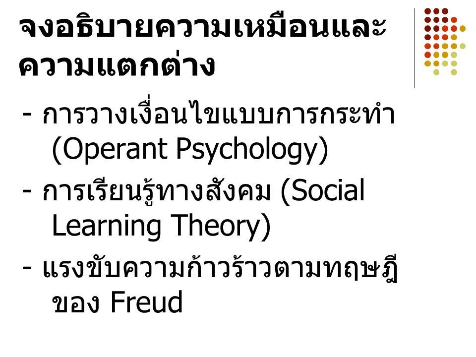 จงอธิบายความเหมือนและ ความแตกต่าง - การวางเงื่อนไขแบบการกระทำ (Operant Psychology) - การเรียนรู้ทางสังคม (Social Learning Theory) - แรงขับความก้าวร้าวตามทฤษฎี ของ Freud
