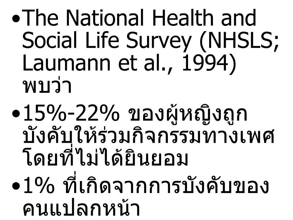 The National Health and Social Life Survey (NHSLS; Laumann et al., 1994) พบว่า 15%-22% ของผู้หญิงถูก บังคับให้ร่วมกิจกรรมทางเพศ โดยที่ไม่ได้ยินยอม 1%