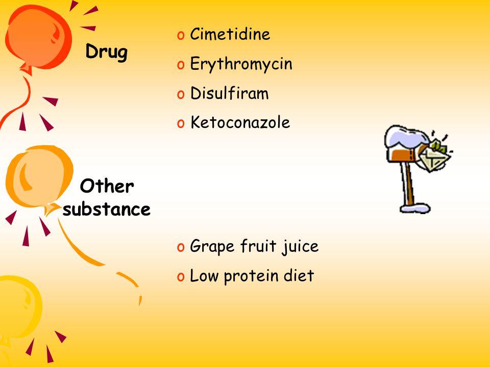 Enzyme inhibition o Enzyme inhibitors o Inhibit drug metabolism o Longer drug effect o Increase prone to drug toxicity