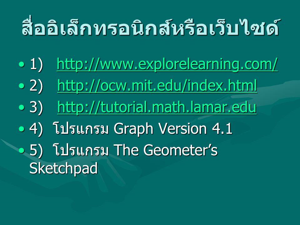 สื่ออิเล็กทรอนิกส์หรือเว็บไซด์ 1) http://www.explorelearning.com/1) http://www.explorelearning.com/http://www.explorelearning.com/ 2) http://ocw.mit.edu/index.html2) http://ocw.mit.edu/index.htmlhttp://ocw.mit.edu/index.html 3) http://tutorial.math.lamar.edu3) http://tutorial.math.lamar.eduhttp://tutorial.math.lamar.edu 4) โปรแกรม Graph Version 4.14) โปรแกรม Graph Version 4.1 5) โปรแกรม The Geometer's Sketchpad5) โปรแกรม The Geometer's Sketchpad