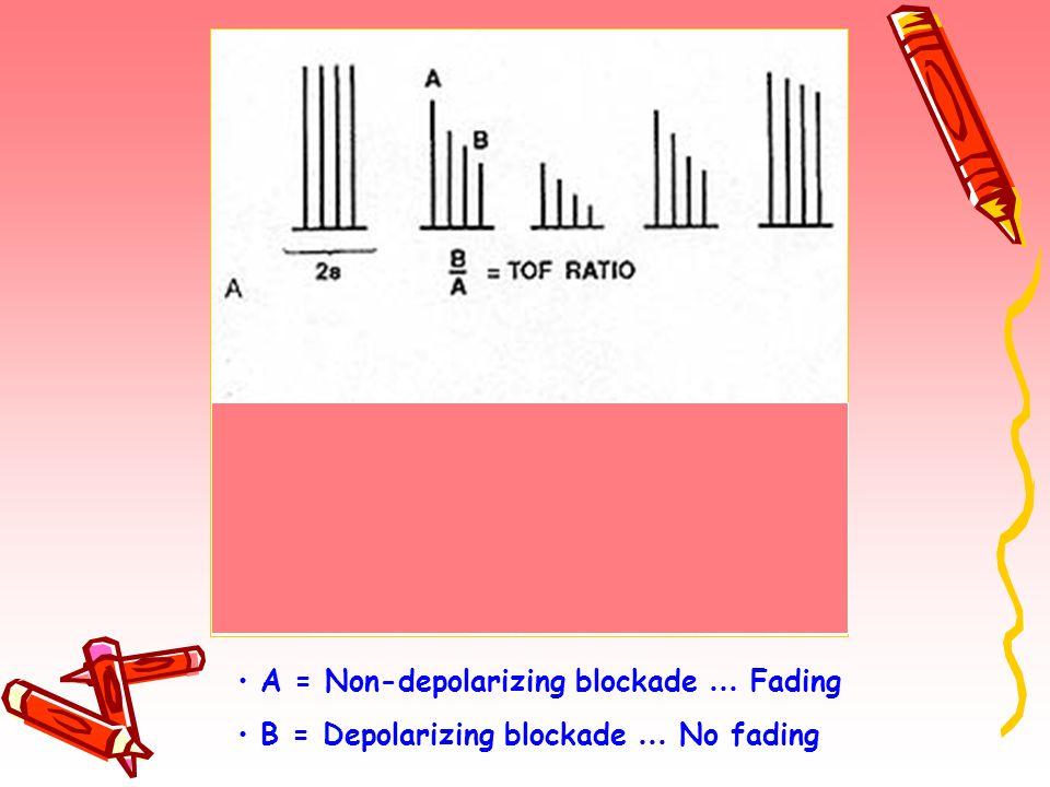 A = Non-depolarizing blockade … Fading B = Depolarizing blockade … No fading