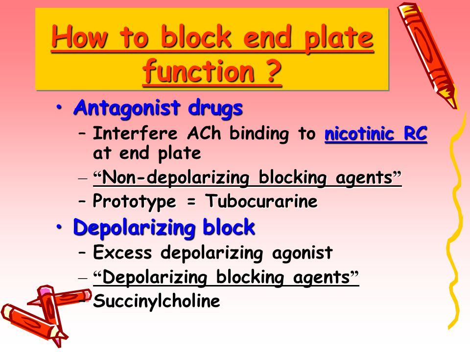 "How to block end plate function ? Antagonist drugs –I–Interfere ACh binding to n nn nicotinic RC at end plate –""–""–""–""Non-depolarizing blocking agents"
