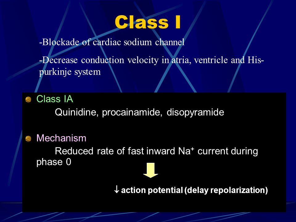 Class I Class IA Quinidine, procainamide, disopyramide Mechanism Reduced rate of fast inward Na + current during phase 0  action potential (delay rep