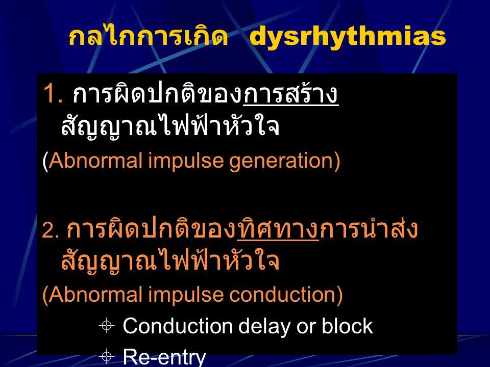 กลไกการเกิด dysrhythmias 1. การผิดปกติของการสร้าง สัญญาณไฟฟ้าหัวใจ (Abnormal impulse generation) 2. การผิดปกติของทิศทางการนำส่ง สัญญาณไฟฟ้าหัวใจ (Abno