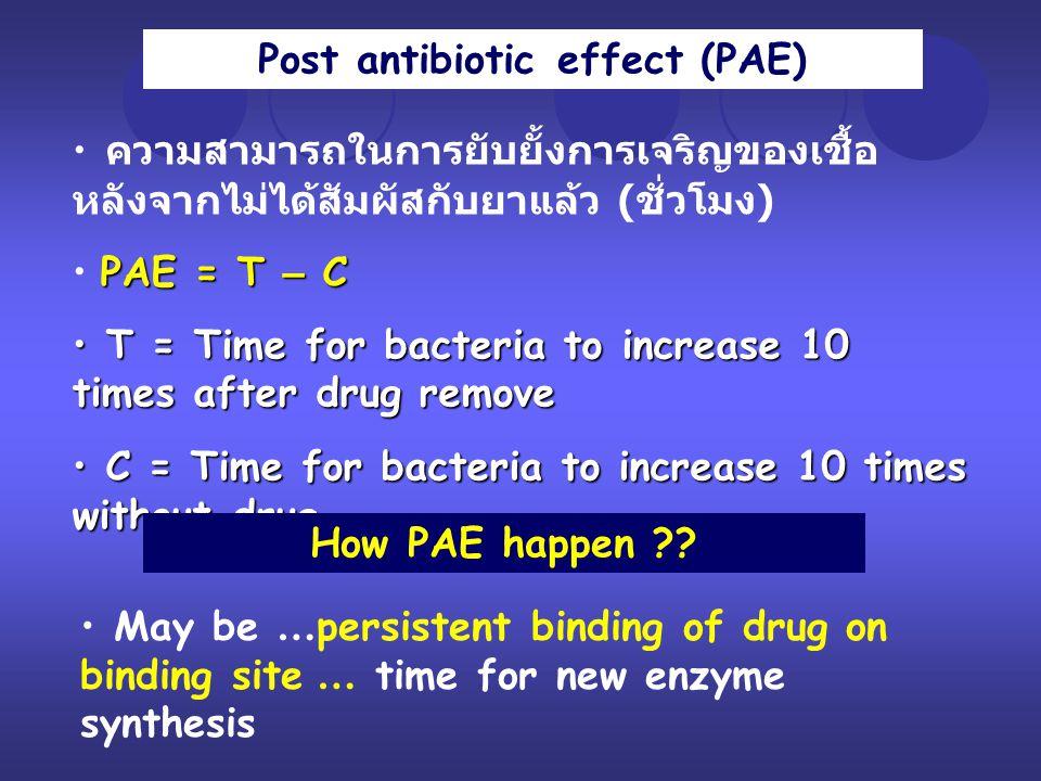 Post antibiotic effect (PAE) ความสามารถในการยับยั้งการเจริญของเชื้อ หลังจากไม่ได้สัมผัสกับยาแล้ว ( ชั่วโมง ) PAE = T – C T = Time for bacteria to incr