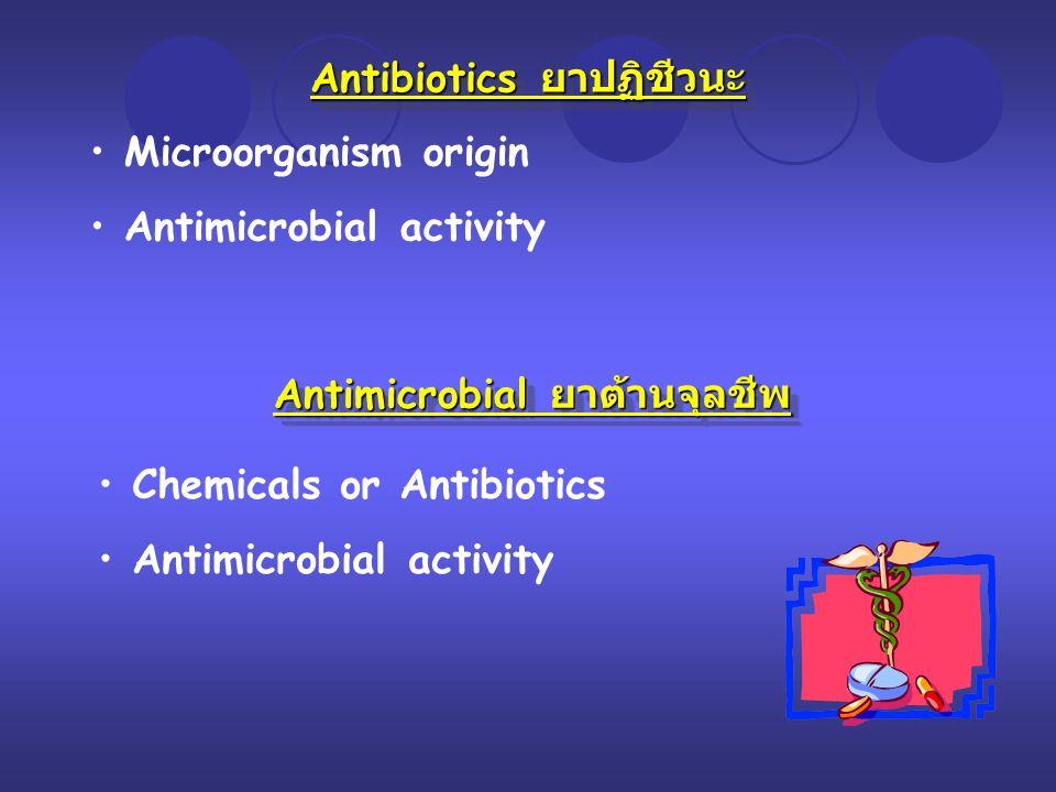 Antibiotics ยาปฏิชีวนะ Microorganism origin Antimicrobial activity Antimicrobial ยาต้านจุลชีพ Chemicals or Antibiotics Antimicrobial activity