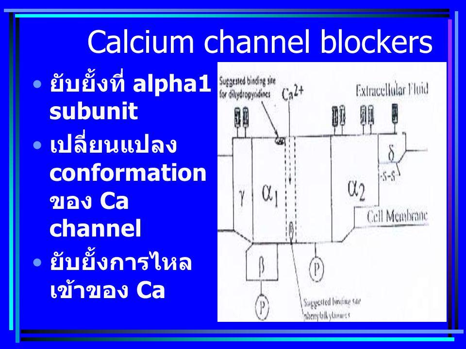 Calcium channel blockers ยับยั้งที่ alpha1 subunit เปลี่ยนแปลง conformation ของ Ca channel ยับยั้งการไหล เข้าของ Ca