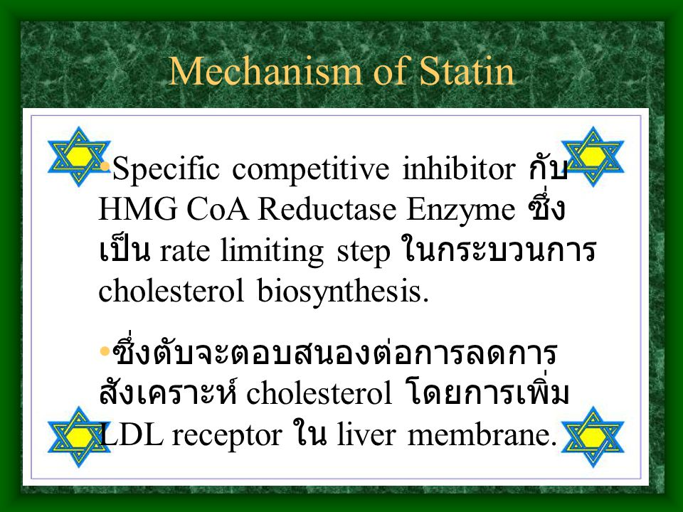 Mechanism of Statin Specific competitive inhibitor กับ HMG CoA Reductase Enzyme ซึ่ง เป็น rate limiting step ในกระบวนการ cholesterol biosynthesis. ซึ่