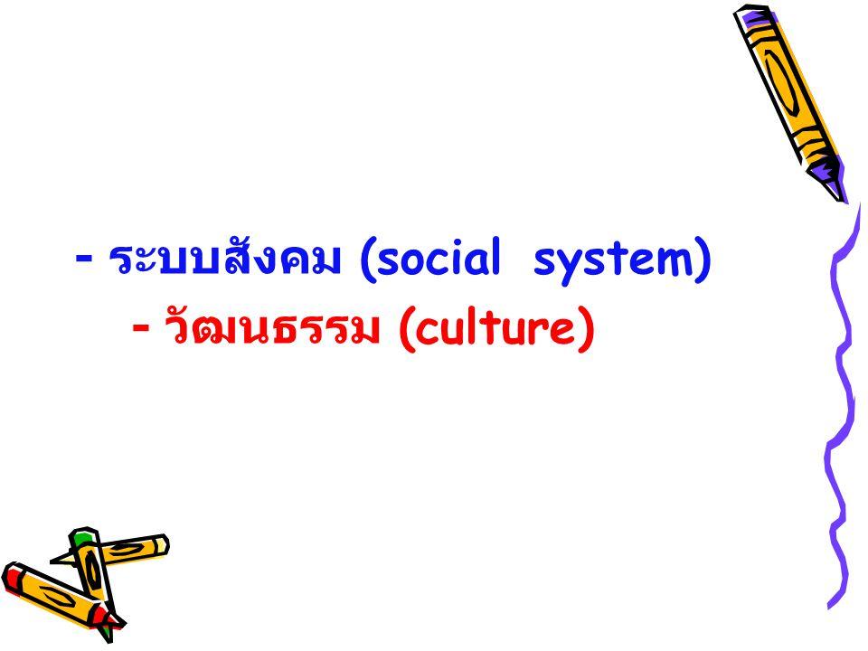 - ระบบสังคม (social system) - วัฒนธรรม (culture)