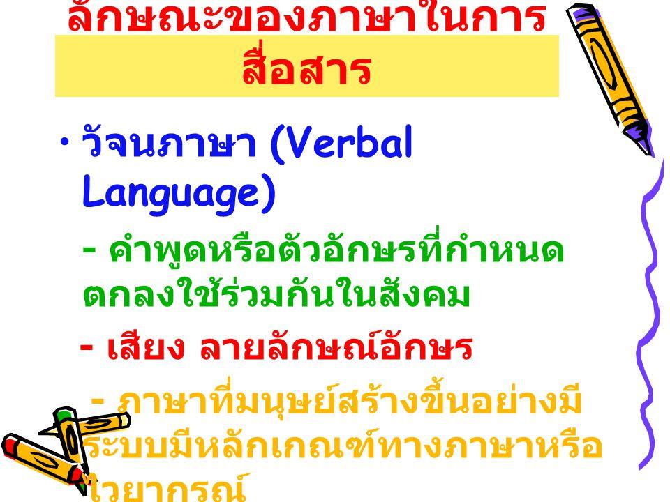 ลักษณะของภาษาในการ สื่อสาร วัจนภาษา (Verbal Language) - คำพูดหรือตัวอักษรที่กำหนด ตกลงใช้ร่วมกันในสังคม - เสียง ลายลักษณ์อักษร - ภาษาที่มนุษย์สร้างขึ้