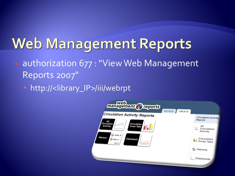 authorization 677 : View Web Management Reports 2007  http:// /iii/webrpt
