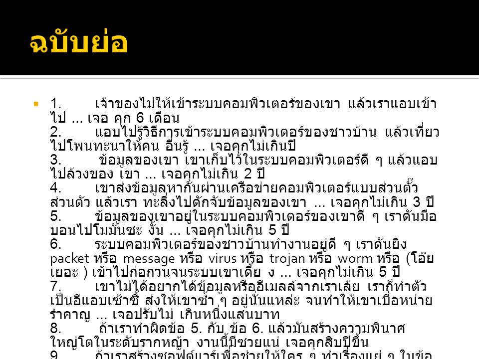  www.mict.go.th  http://share.psu.ac.th/file/siripong.s/LawCart oon.pdf ( พรบ ฉบับการ์ตูน ) http://share.psu.ac.th/file/siripong.s/LawCart oon.pdf  http://www.etcommission.go.th/documents/l aws/20070618_CC_Final.pdf ( ฉบับเต็ม ) http://www.etcommission.go.th/documents/l aws/20070618_CC_Final.pdf  http://61.7.253.244/media/computer-law.pdf ( ฉบับย่อ ) http://61.7.253.244/media/computer-law.pdf
