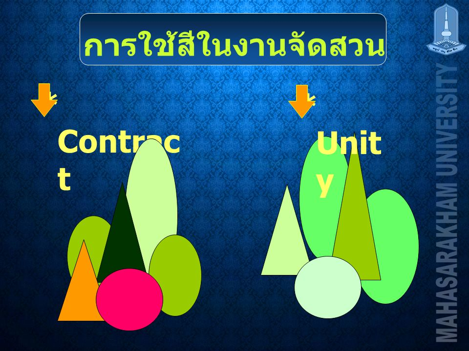 การใช้สีในงานจัดสวน * Contrac t * Unit y