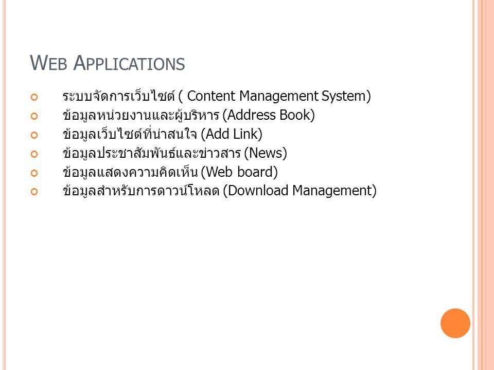 W EB A PPLICATIONS ระบบจัดการเว็บไซต์ ( Content Management System) ข้อมูลหน่วยงานและผู้บริหาร (Address Book) ข้อมูลเว็บไซต์ที่น่าสนใจ (Add Link) ข้อมู