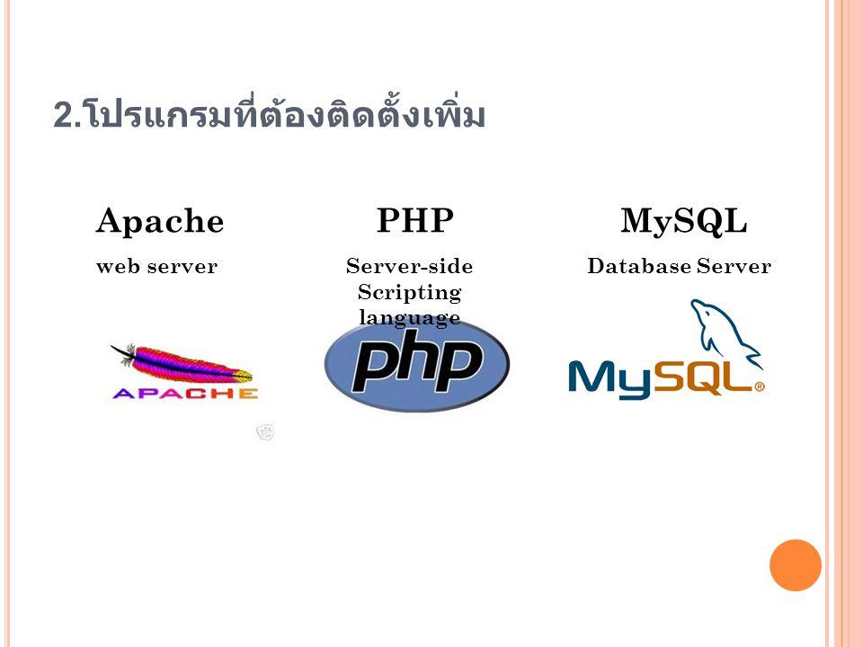 2. โปรแกรมที่ต้องติดตั้งเพิ่ม Apache web server PHP Server-side Scripting language MySQL Database Server