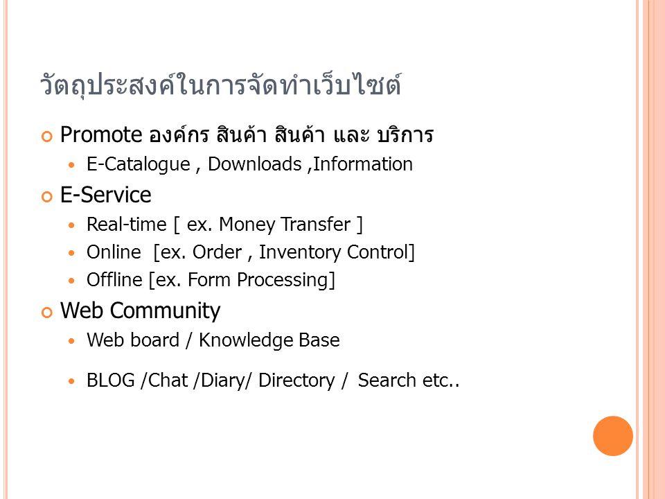 วัตถุประสงค์ในการจัดทำเว็บไซต์ Promote องค์กร สินค้า สินค้า และ บริการ E-Catalogue, Downloads,Information E-Service Real-time [ ex. Money Transfer ] O