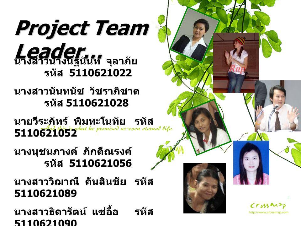 Project Team Leader… นางสาวนางนัฐนันท์ จุลาภัย รหัส 5110621022 นางสาวนันทนัช วัชราภิชาต รหัส 5110621028 นายวีระภัทร์ พิมทะโนทัยรหัส 5110621052 นางนุชน