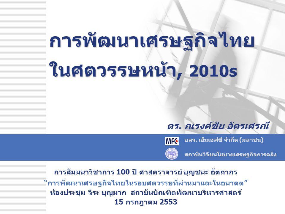การพัฒนาเศรษฐกิจไทย ในศตวรรษหน้า, 2010s ดร. ณรงค์ชัย อัครเศรณี บลจ. เอ็มเอฟซี จำกัด (มหาชน) สถาบันวิจัยนโยบายเศรษฐกิจการคลัง การสัมมนาวิชาการ 100 ปี ศ