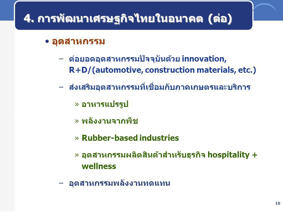 18 4. การพัฒนาเศรษฐกิจไทยในอนาคต (ต่อ) อุตสาหกรรม –ต่อยอดอุตสาหกรรมปัจจุบันด้วย innovation, R+D/(automotive, construction materials, etc.) –ส่งเสริมอุ