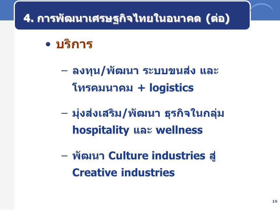19 บริการ –ลงทุน/พัฒนา ระบบขนส่ง และ โทรคมนาคม + logistics –มุ่งส่งเสริม/พัฒนา ธุรกิจในกลุ่ม hospitality และ wellness –พัฒนา Culture industries สู่ Cr
