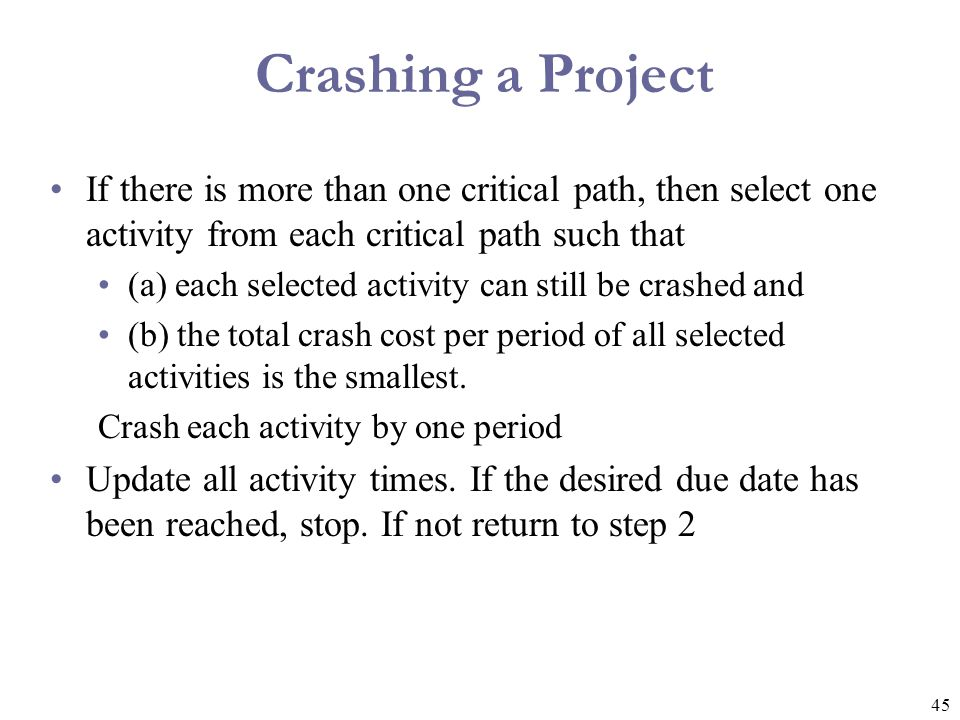 46 Normal and Crash Data Time (week)Cost ($) Crash Cost per week Critical Path.