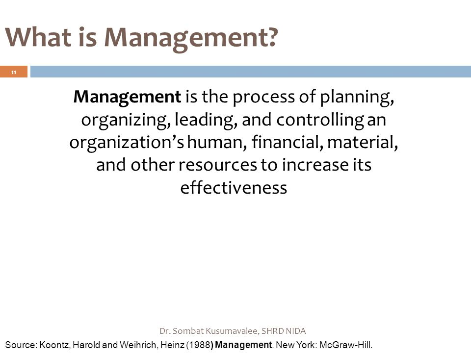 What is Management? Dr. Sombat Kusumavalee, SHRD NIDA 11 Management is the process of planning, organizing, leading, and controlling an organization's