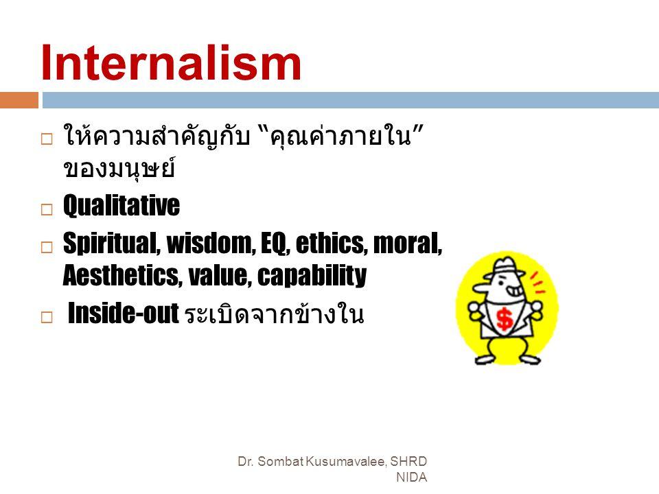 Internalism  ให้ความสำคัญกับ คุณค่าภายใน ของมนุษย์  Qualitative  Spiritual, wisdom, EQ, ethics, moral, Aesthetics, value, capability  Inside-out ระเบิดจากข้างใน Dr.
