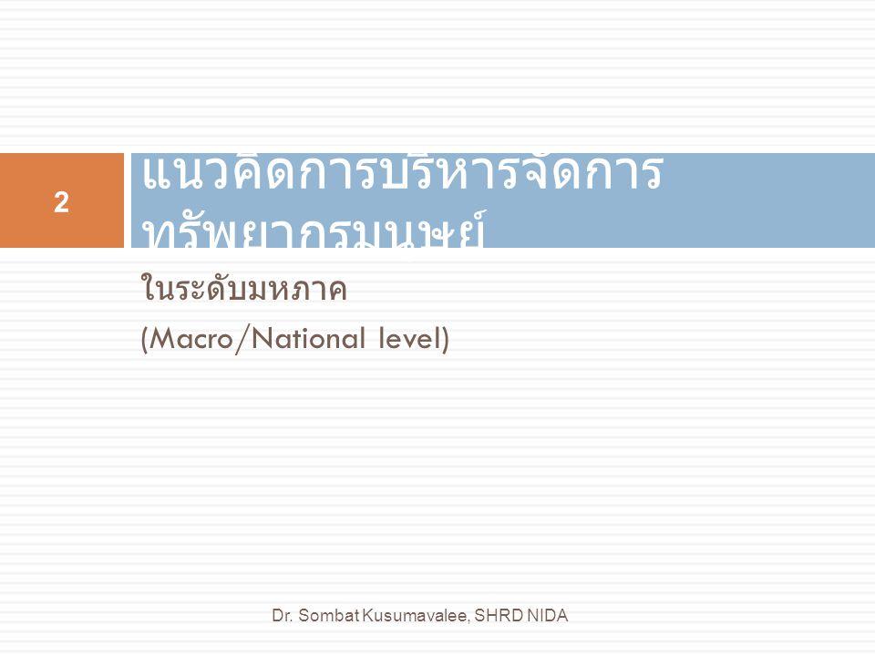 ในระดับมหภาค (Macro/National level) แนวคิดการบริหารจัดการ ทรัพยากรมนุษย์ 2 Dr. Sombat Kusumavalee, SHRD NIDA