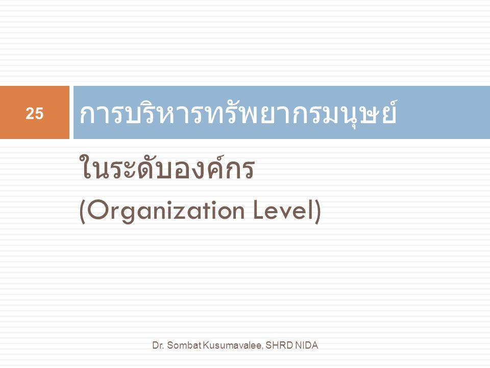 ในระดับองค์กร (Organization Level) การบริหารทรัพยากรมนุษย์ 25 Dr. Sombat Kusumavalee, SHRD NIDA