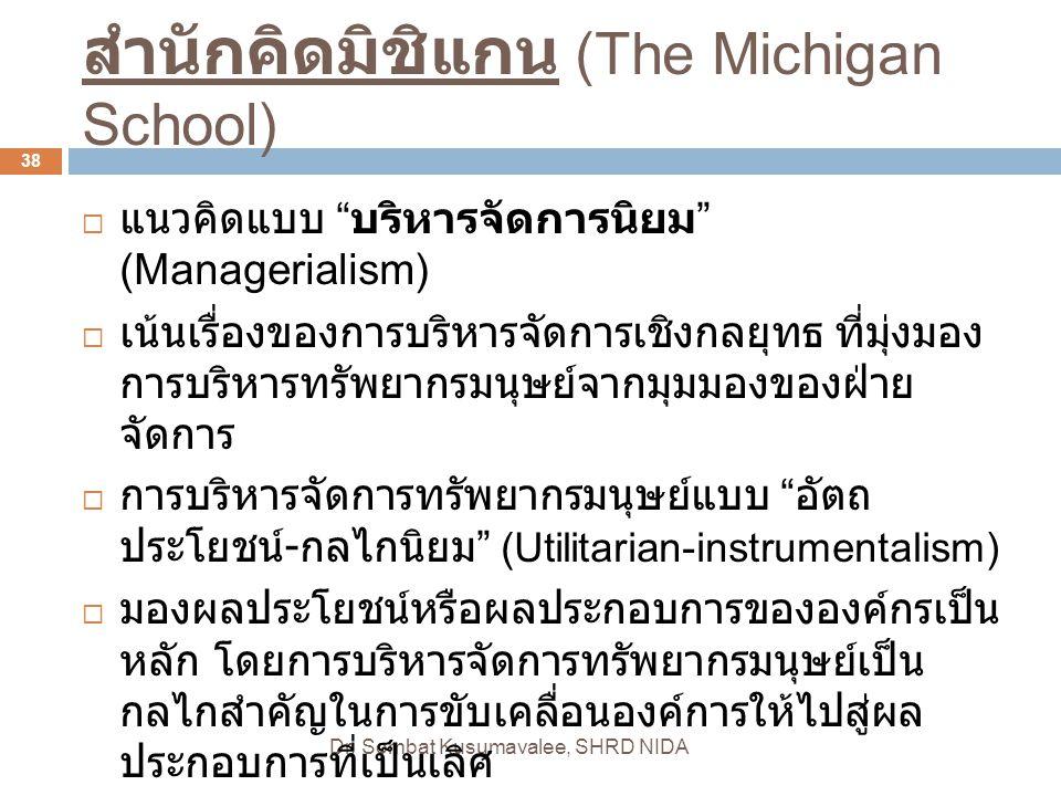 """สำนักคิดมิชิแกน (The Michigan School) Dr. Sombat Kusumavalee, SHRD NIDA 38  แนวคิดแบบ """" บริหารจัดการนิยม """" (Managerialism)  เน้นเรื่องของการบริหารจั"""