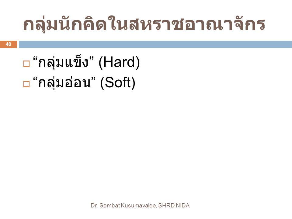 """กลุ่มนักคิดในสหราชอาณาจักร Dr. Sombat Kusumavalee, SHRD NIDA 40  """" กลุ่มแข็ง """" (Hard)  """" กลุ่มอ่อน """" (Soft)"""