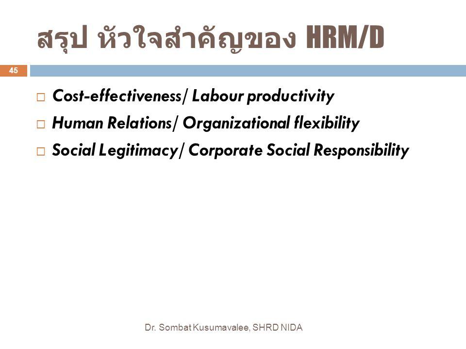 สรุป หัวใจสำคัญของ HRM/D Dr. Sombat Kusumavalee, SHRD NIDA 45  Cost-effectiveness/ Labour productivity  Human Relations/ Organizational flexibility