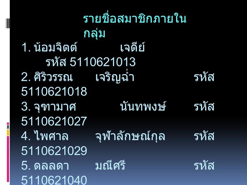 1. น้อมจิตต์เจดีย์ รหัส 5110621013 2. ศิริวรรณ เจริญฉ่ำรหัส 5110621018 3. จุฑามาศนันทพงษ์รหัส 5110621027 4. ไพศาลจุฬาลักษณ์กุลรหัส 5110621029 5. ดลลดา