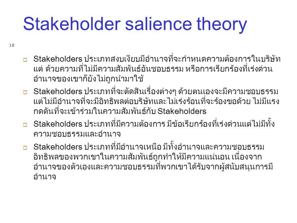 Stakeholder salience theory  Stakeholders ประเภทสงบเงียบมีอำนาจที่จะกำหนดความต้องการในบริษัท แต่ ด้วยความที่ไม่มีความสัมพันธ์อันชอบธรรม หรือการเรียกร