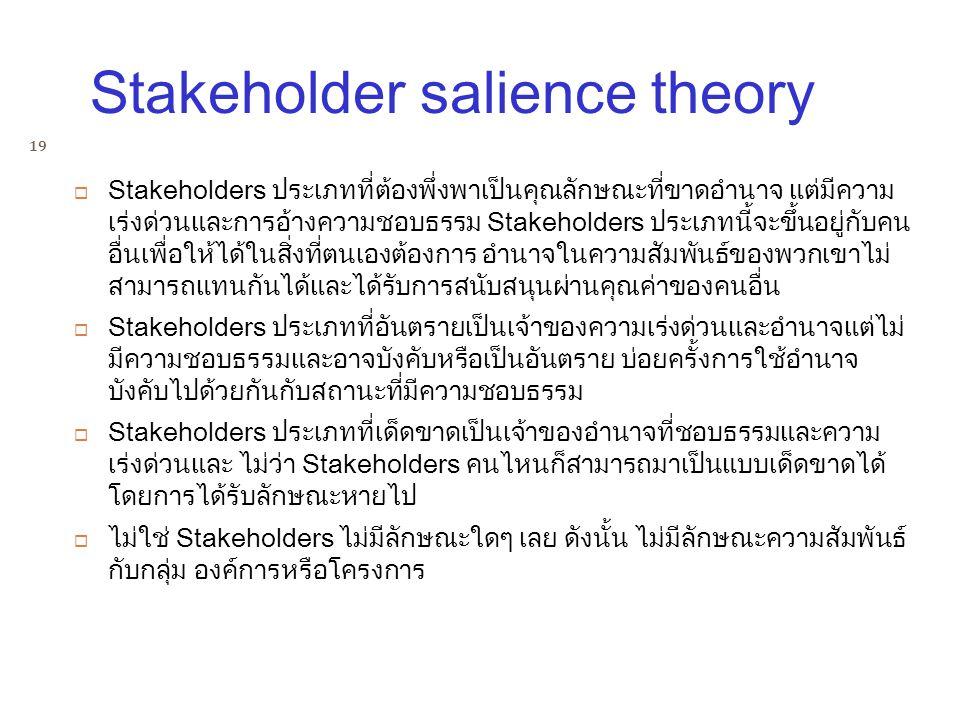  Stakeholders ประเภทที่ต้องพึ่งพาเป็นคุณลักษณะที่ขาดอำนาจ แต่มีความ เร่งด่วนและการอ้างความชอบธรรม Stakeholders ประเภทนี้จะขึ้นอยู่กับคน อื่นเพื่อให้ไ