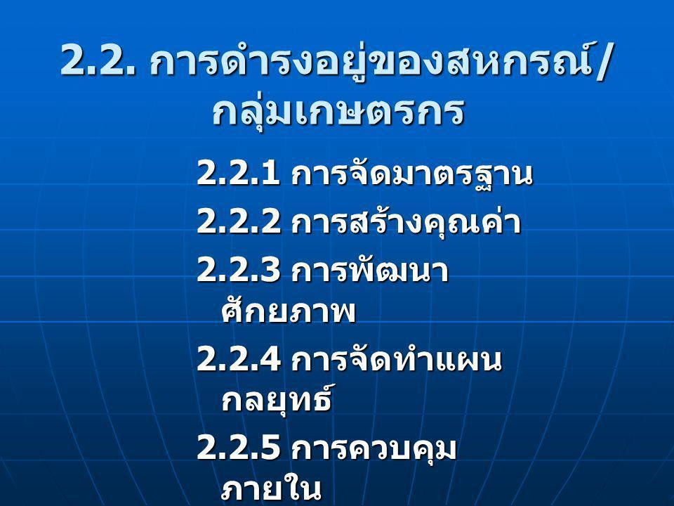 2.2. การดำรงอยู่ของสหกรณ์ / กลุ่มเกษตรกร 2.2.1 การจัดมาตรฐาน 2.2.2 การสร้างคุณค่า 2.2.3 การพัฒนา ศักยภาพ 2.2.4 การจัดทำแผน กลยุทธ์ 2.2.5 การควบคุม ภาย