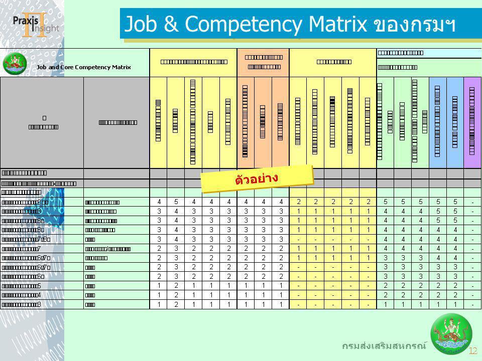12 กรมส่งเสริมสหกรณ์ Job & Competency Matrix ของกรมฯ ตัวอย่าง