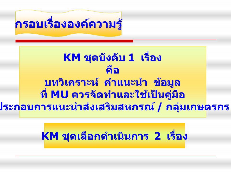 กรอบเวลา KM ชุดบังคับ 1 เรื่อง ดำเนินการขั้นตอนที่ 1 – 6 ภายในไตรมาส 2 ( มีนาคม 2552) ดำเนินการขั้นตอนที่ 7 – 8 ภายในไตรมาส 3 ( มิถุนายน 2552) KM ชุดเลือกดำเนินการ 2 เรื่อง ต้องประเมินผลการนำไปใช้ในเดือนสิงหาคม 2552