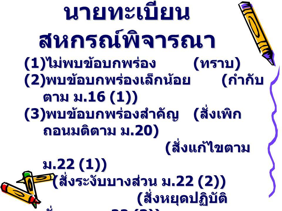 นายทะเบียน สหกรณ์พิจารณา (1) ไม่พบข้อบกพร่อง ( ทราบ ) (2) พบข้อบกพร่องเล็กน้อย ( กำกับ ตาม ม.16 (1)) (3) พบข้อบกพร่องสำคัญ ( สั่งเพิก ถอนมติตาม ม.20) ( สั่งแก้ไขตาม ม.22 (1)) ( สั่งระงับบางส่วน ม.22 (2)) ( สั่งแก้ไขตาม ม.22 (1)) ( สั่งระงับบางส่วน ม.22 (2)) ( สั่งหยุดปฏิบัติ ชั่วคราว ม.22 (3)) ( ให้พ้นจากตำแหน่ง ม.22 (4))