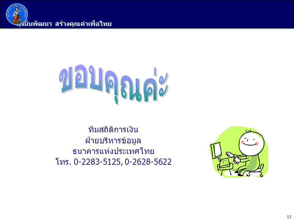 มุ่งมั่นพัฒนา สร้างคุณค่าเพื่อไทย 13 ทีมสถิติการเงิน ฝ่ายบริหารข้อมูล ธนาคารแห่งประเทศไทย โทร. 0-2283-5125, 0-2628-5622