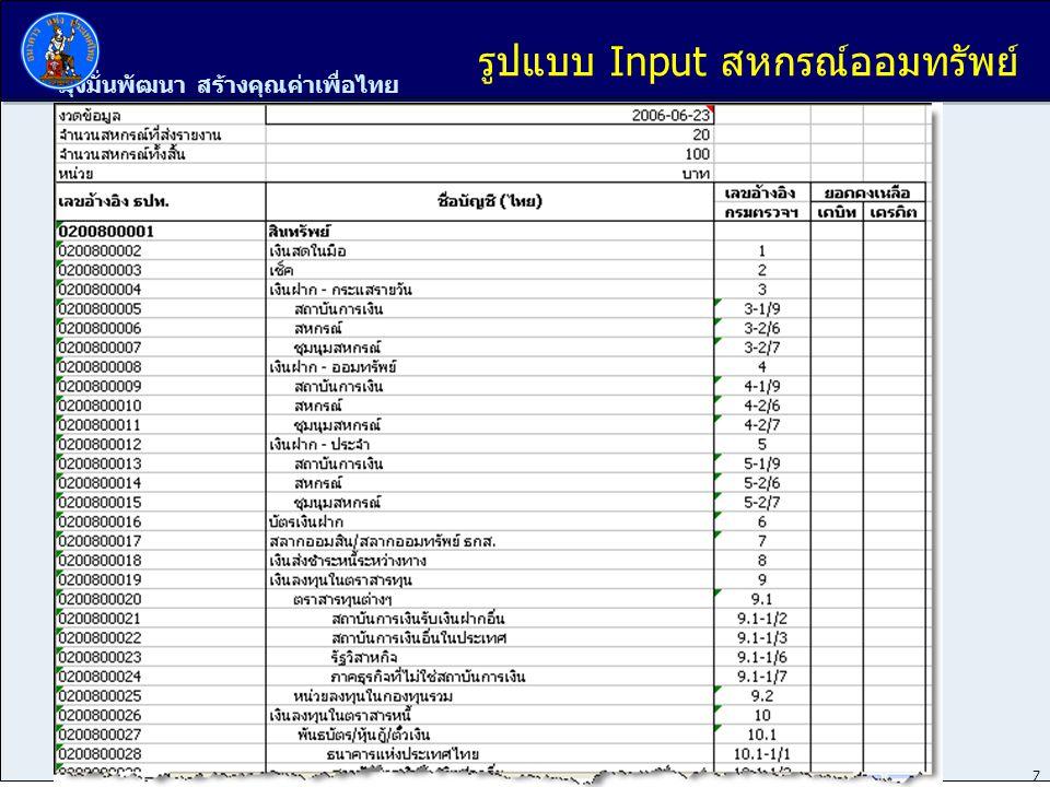 มุ่งมั่นพัฒนา สร้างคุณค่าเพื่อไทย 8 รูปแบบ Input สหกรณ์ออมทรัพย์ (ต่อ)