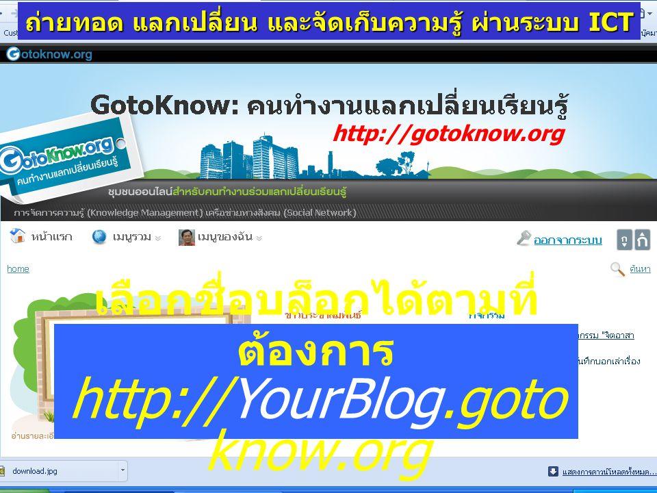 เลือกชื่อบล็อกได้ตามที่ ต้องการ http://YourBlog.goto know.org http://gotoknow.org ถ่ายทอด แลกเปลี่ยน และจัดเก็บความรู้ ผ่านระบบ ICT