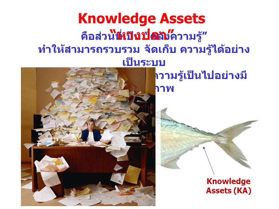 """KA Knowledge Assets (KA) คือส่วนที่เป็น """" คลังความรู้ """" ทำให้สามารถรวบรวม จัดเก็บ ความรู้ได้อย่าง เป็นระบบ ช่วยให้การแพร่กระจายความรู้เป็นไปอย่างมี ปร"""
