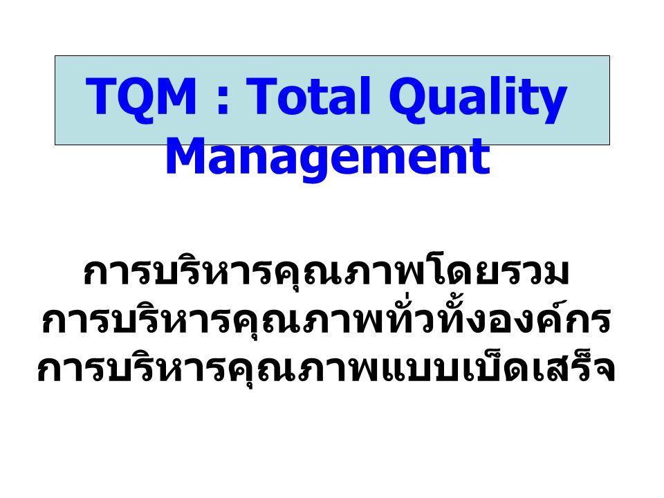 หลักการสำคัญของ TQM 1.การมุ่งเน้นคุณภาพ 2. การปรับปรุงกระบวนการ 3.