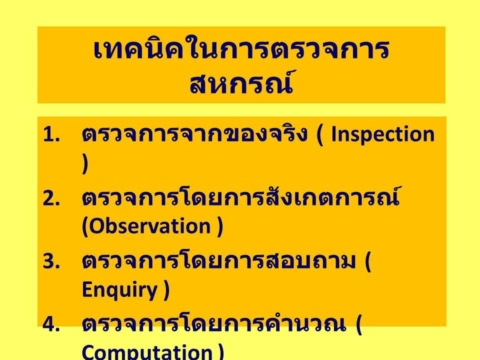 เทคนิคในการตรวจการ สหกรณ์ 1. ตรวจการจากของจริง ( Inspection ) 2. ตรวจการโดยการสังเกตการณ์ (Observation ) 3. ตรวจการโดยการสอบถาม ( Enquiry ) 4. ตรวจการ