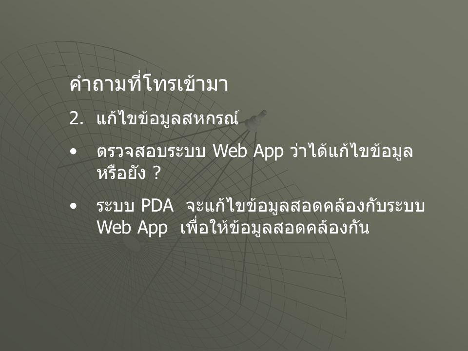 คำถามที่โทรเข้ามา 2. แก้ไขข้อมูลสหกรณ์ ตรวจสอบระบบ Web App ว่าได้แก้ไขข้อมูล หรือยัง ? ระบบ PDA จะแก้ไขข้อมูลสอดคล้องกับระบบ Web App เพื่อให้ข้อมูลสอด