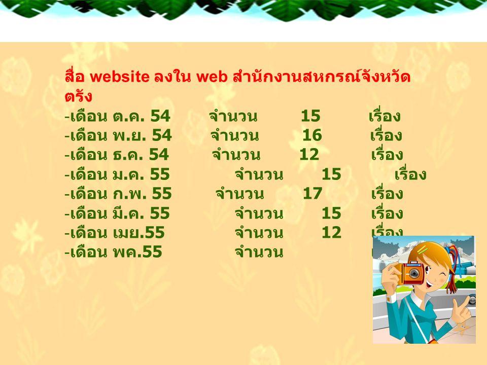 8/2/2014 Free template from www.brainybetty.com12 สื่อ website ลงใน web สำนักงานสหกรณ์จังหวัด ตรัง - เดือน ต. ค. 54 จำนวน 15 เรื่อง - เดือน พ. ย. 54 จ