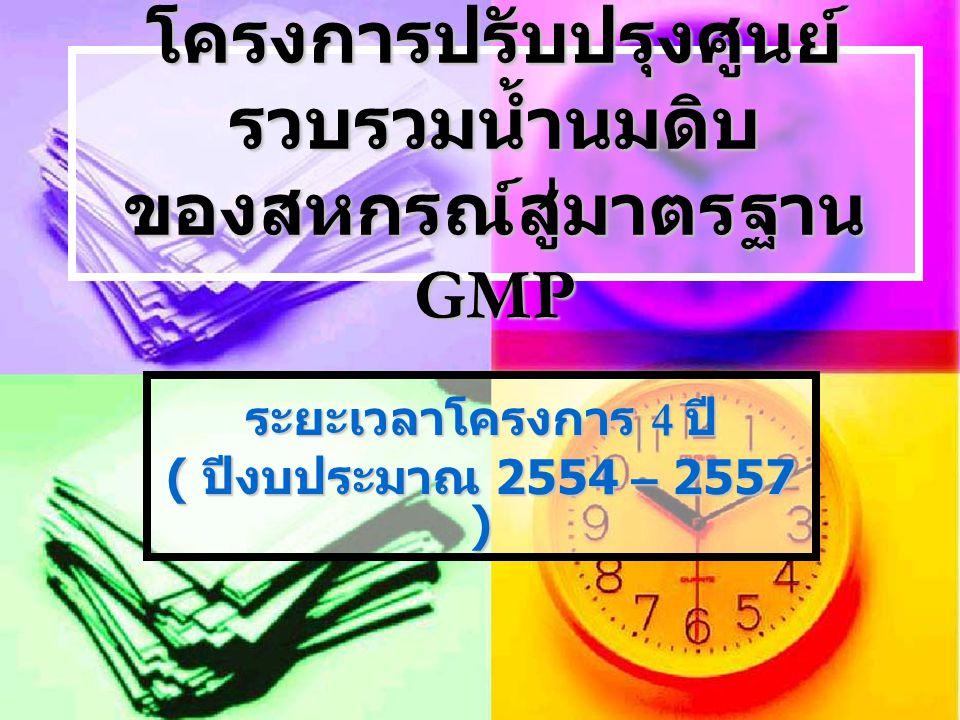 โครงการปรับปรุงศูนย์ รวบรวมน้ำนมดิบ ของสหกรณ์สู่มาตรฐาน GMP ระยะเวลาโครงการ 4 ปี ( ปีงบประมาณ 2554 – 2557 )