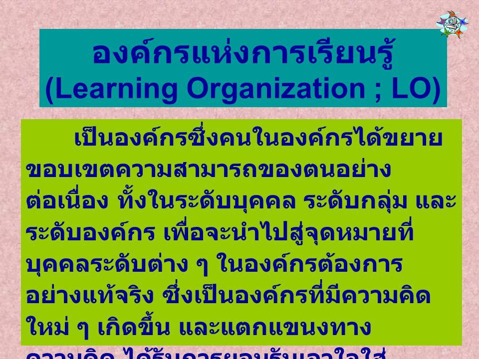 องค์กรแห่งการเรียนรู้ (Learning Organization ; LO) เป็นองค์กรซึ่งคนในองค์กรได้ขยาย ขอบเขตความสามารถของตนอย่าง ต่อเนื่อง ทั้งในระดับบุคคล ระดับกลุ่ม แล