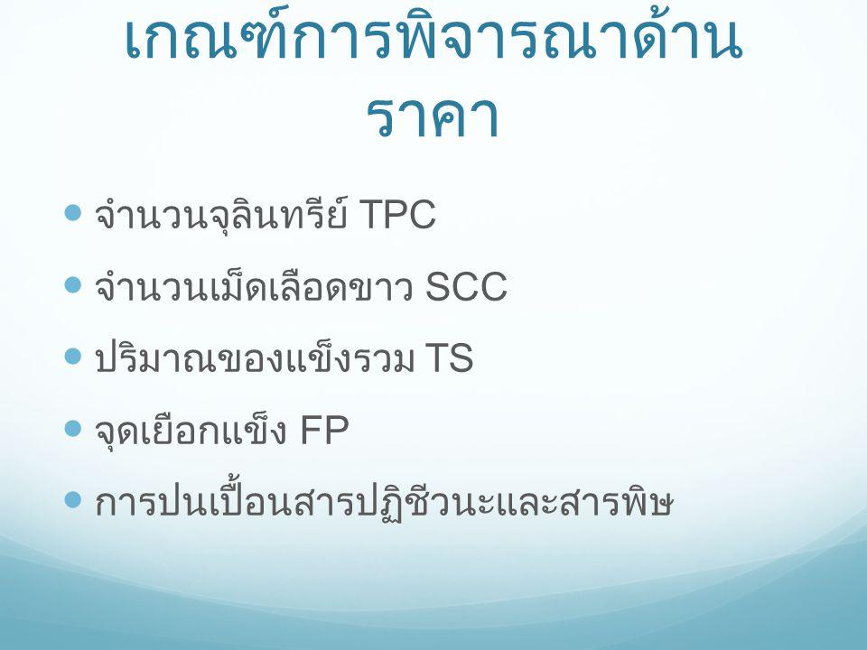 เกณฑ์การพิจารณาด้าน ราคา จำนวนจุลินทรีย์ TPC จำนวนเม็ดเลือดขาว SCC ปริมาณของแข็งรวม TS จุดเยือกแข็ง FP การปนเปื้อนสารปฏิชีวนะและสารพิษ